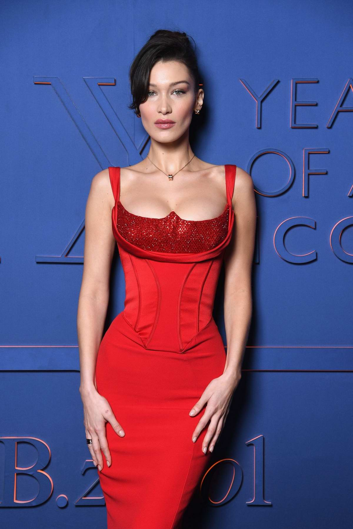 Bella Hadid attends the Bvlgari - B.ZERO1 XX Anniversary Global Launch Event at Auditorium Parco Della Musica in Rome, Italy
