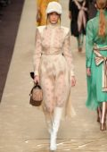 Bella Hadid walks the runway at Fendi Women's Fall/Winter 2019/2020 Fashion Show during Milan Fashion Week in Milan, Italy