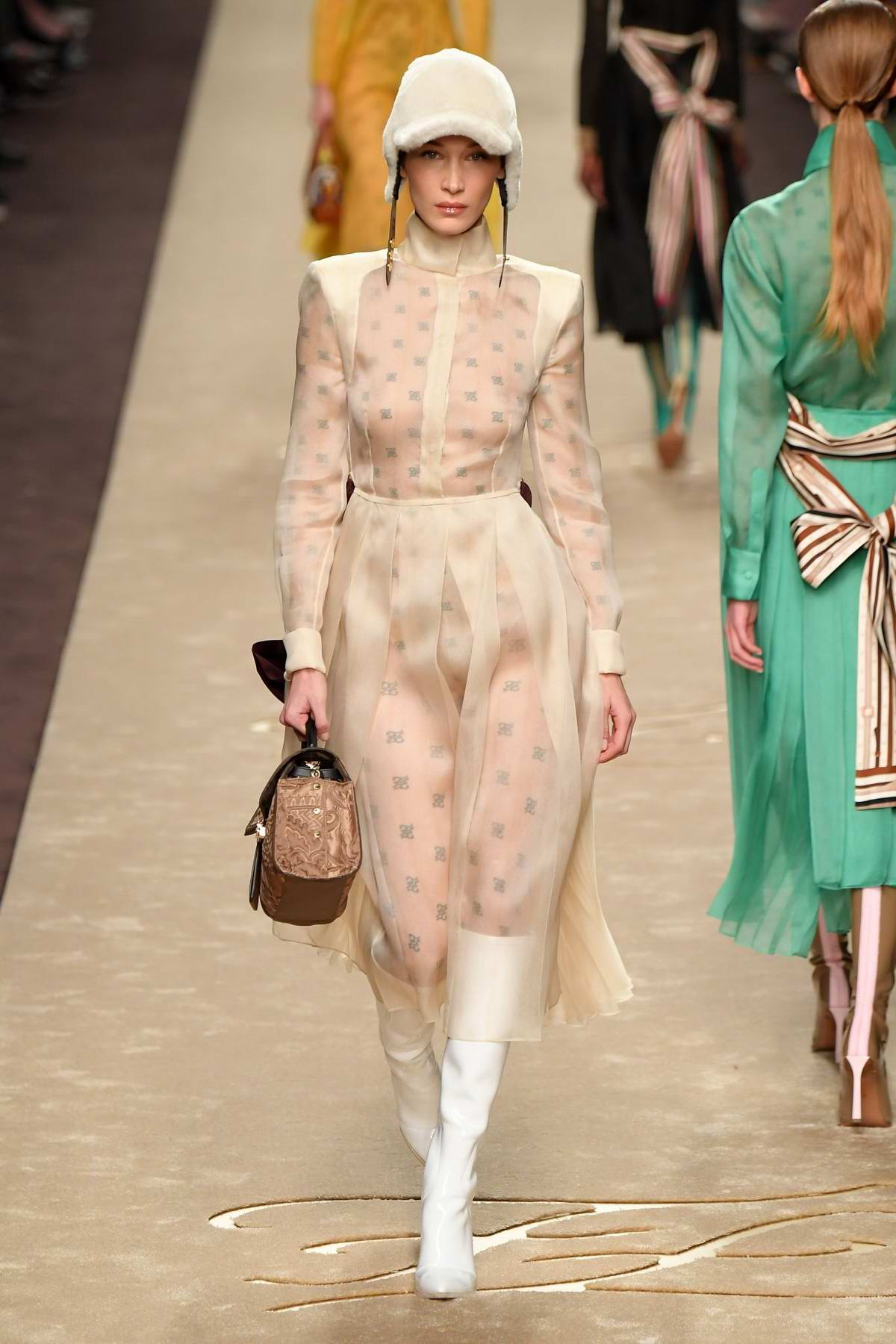 0236fcc1b15 Bella Hadid walks the runway at Fendi Women s Fall Winter 2019 2020 Fashion  Show during Milan Fashion Week in Milan