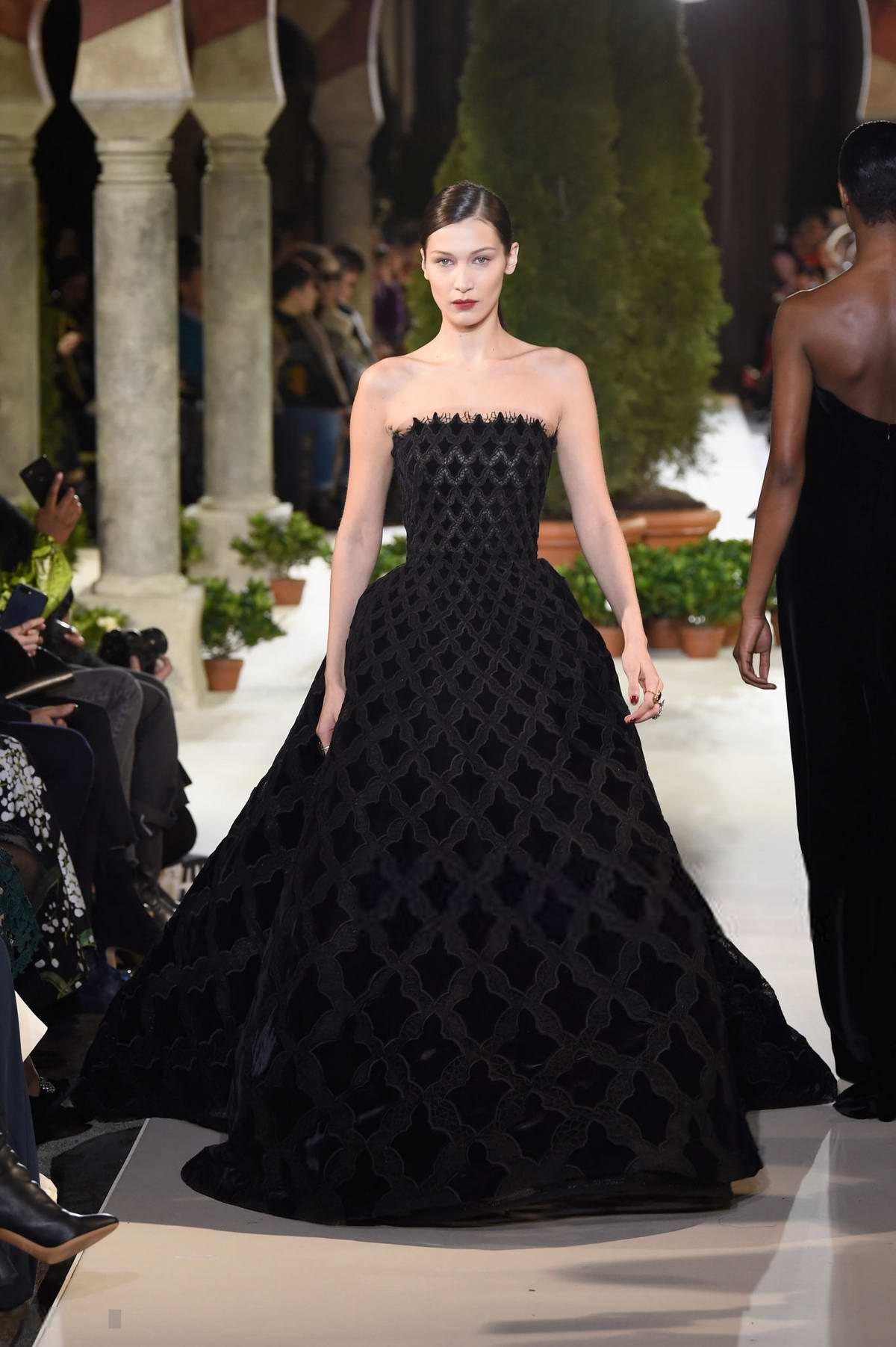Bella Hadid walks the runway at Oscar De La Renta show during New York Fashion Week in New York City