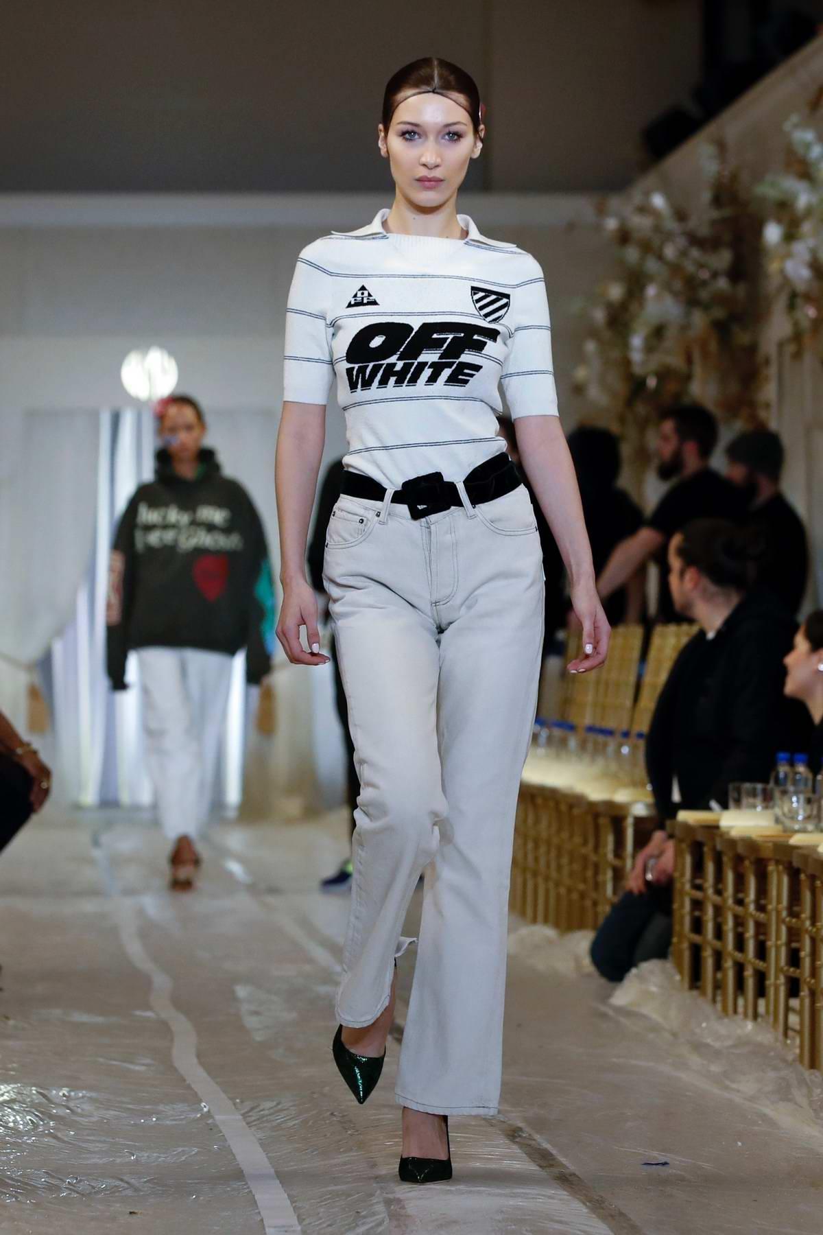 Bella Hadid walks the runway at the Brandon Maxwell show during New York Fashion Week in New York City
