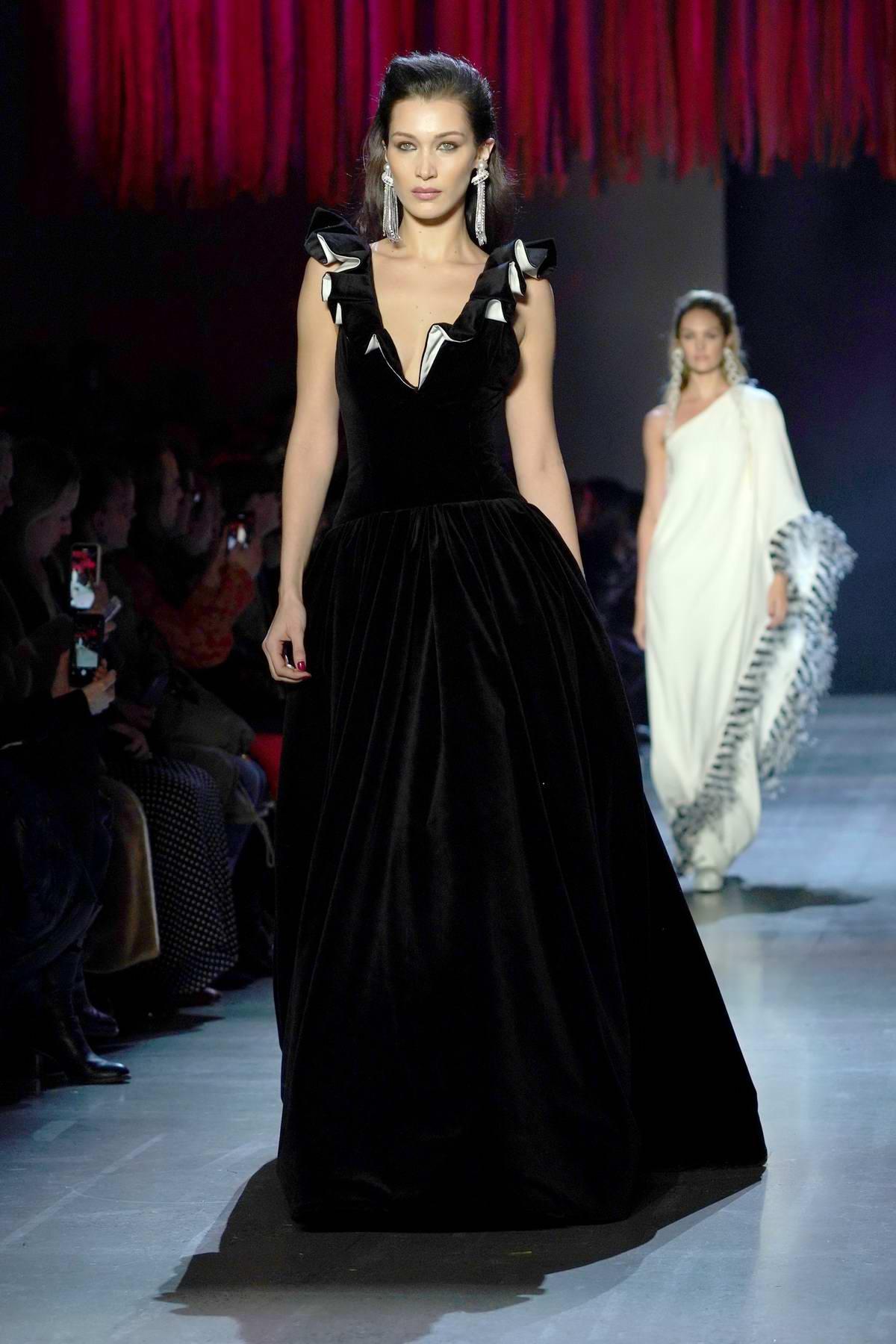 Bella Hadid walks the runway for the Prabal Gurung fashion show during New York Fashion Week in New York City