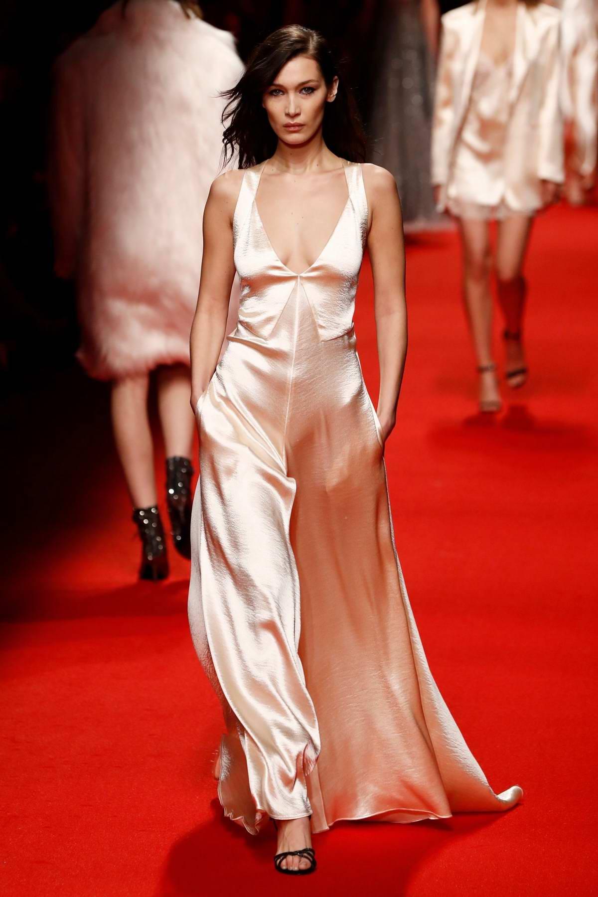 Bella Hadid walks the runways at the Philosophy Di Lorenzo Serafini Fashion Show during Milan Fashion Week in Milan, Italy