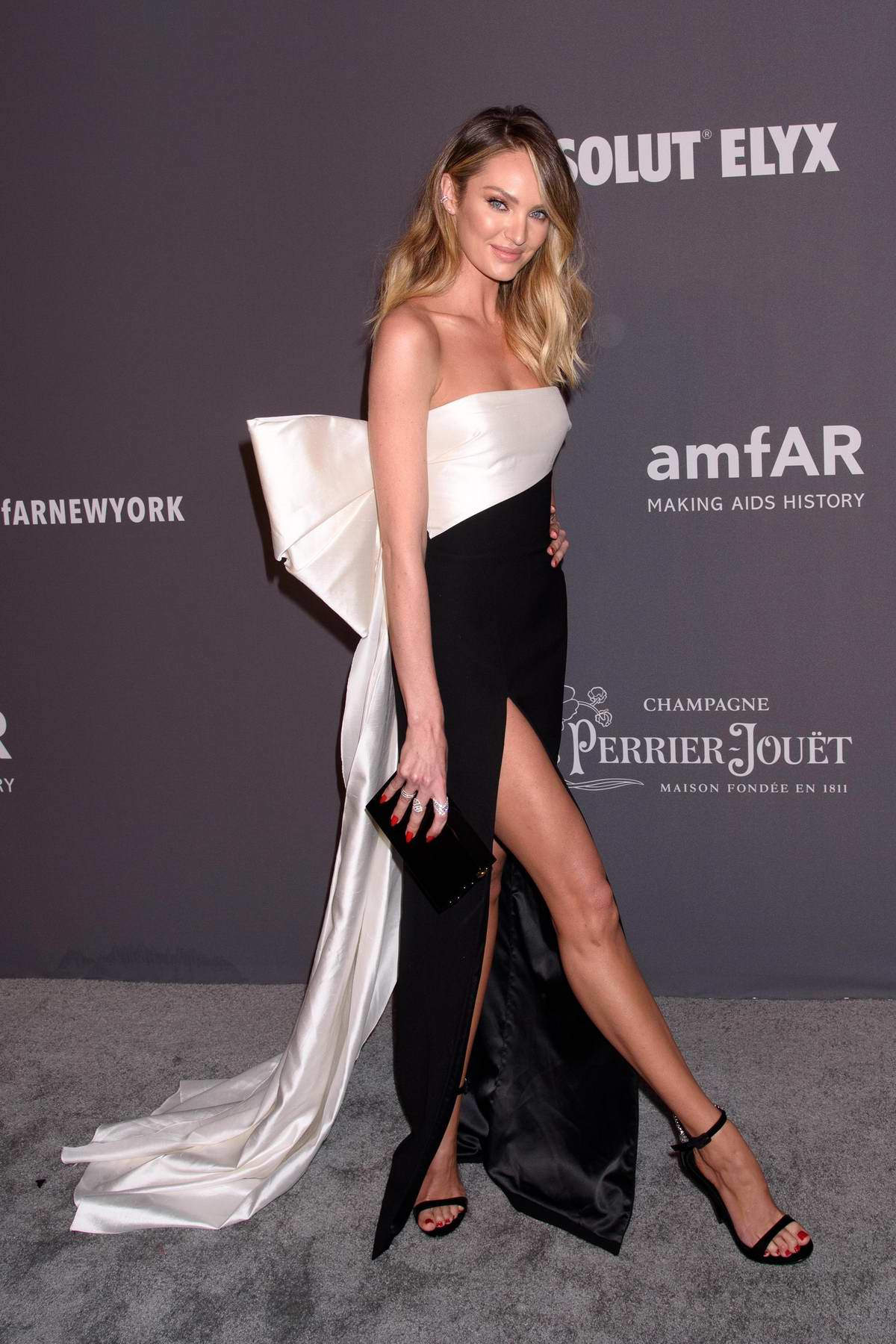 Candice Swanepoel attends amfAR New York Gala 2019 at Cipriani Wall Street in New York City