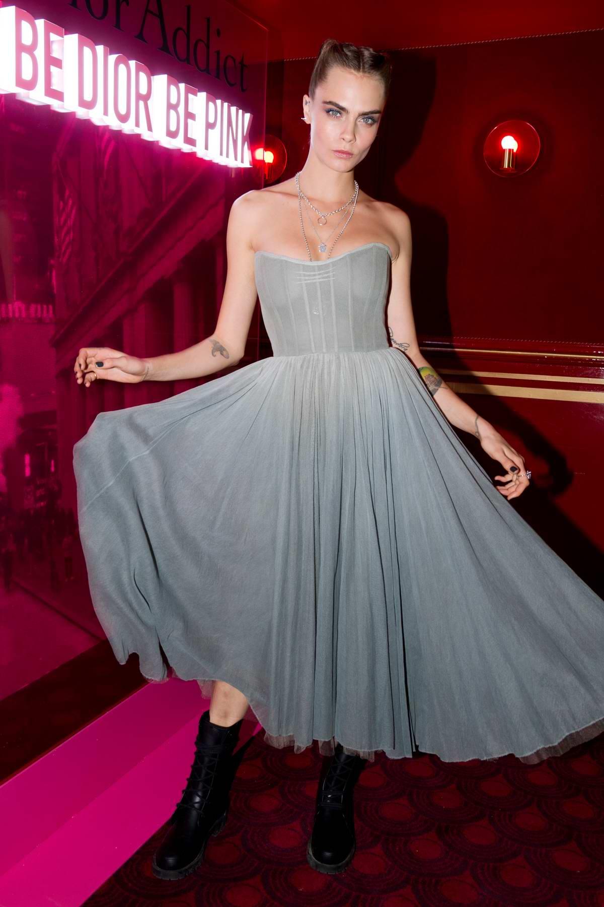 Cara Delevingne attends the Dior Addict Stellar Shine diner party during Paris Fashion Week in Paris, France