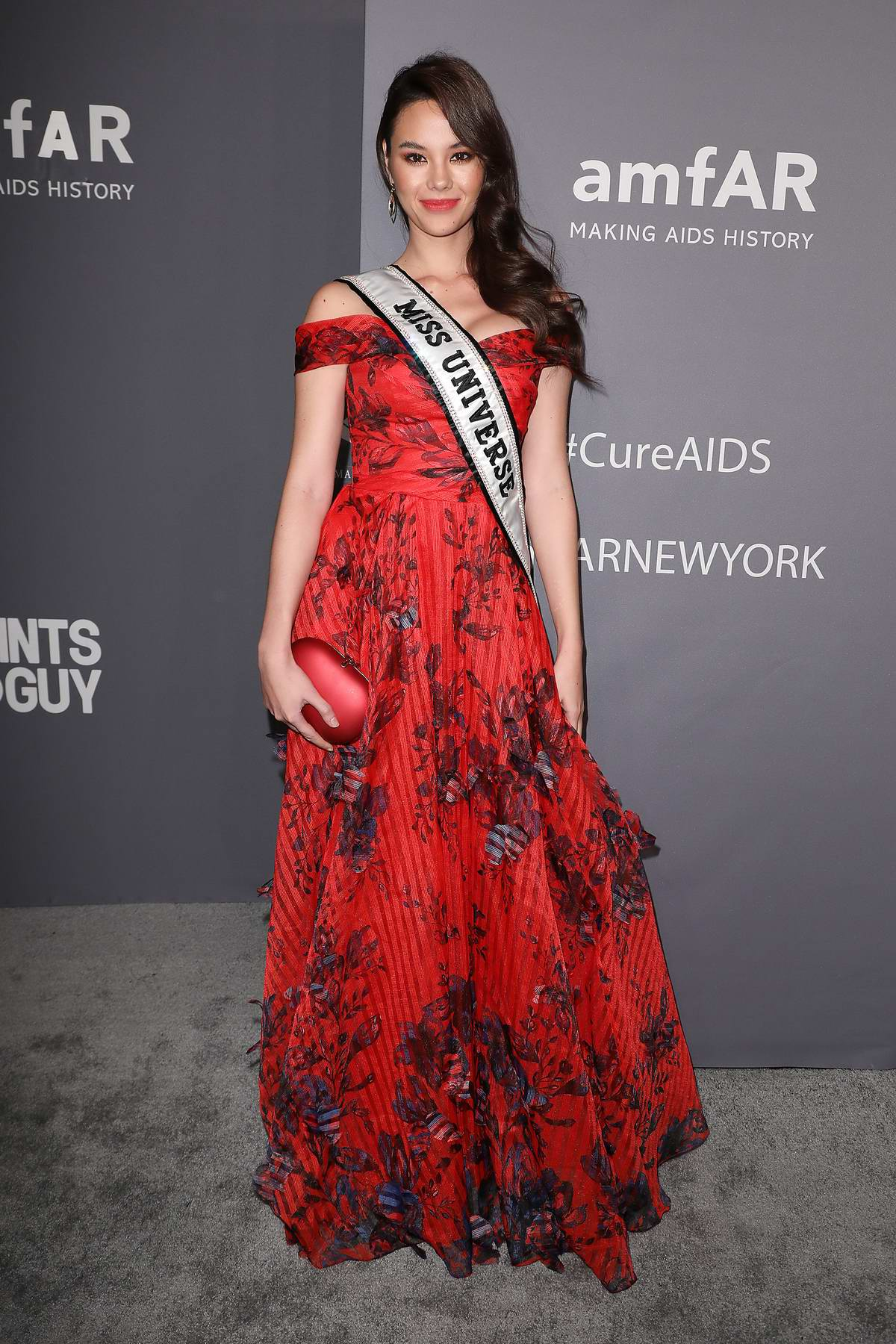 Catriona Gray attends amfAR New York Gala 2019 at Cipriani Wall Street in New York City