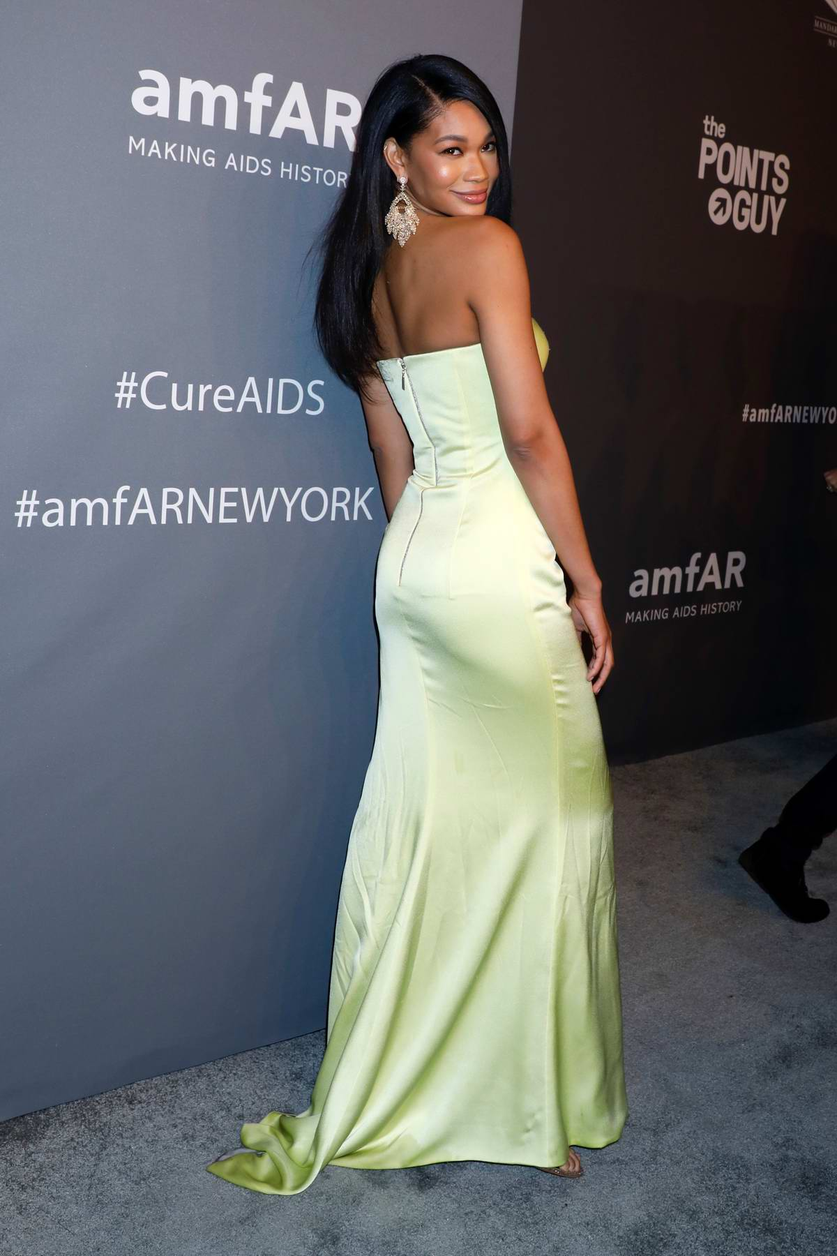 Chanel Iman attends amfAR New York Gala 2019 at Cipriani Wall Street in New York City