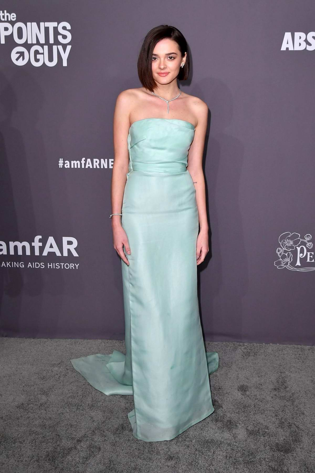 Charlotte Lawrence attends amfAR New York Gala 2019 at Cipriani Wall Street in New York City