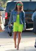 Christina Milian stands out in neon green as she shops with friends in Los Angeles