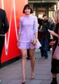 Daisy Lowe seen wearing a short lilac dress as she attends Bora Aksu show during London Fashion Week in London, UK
