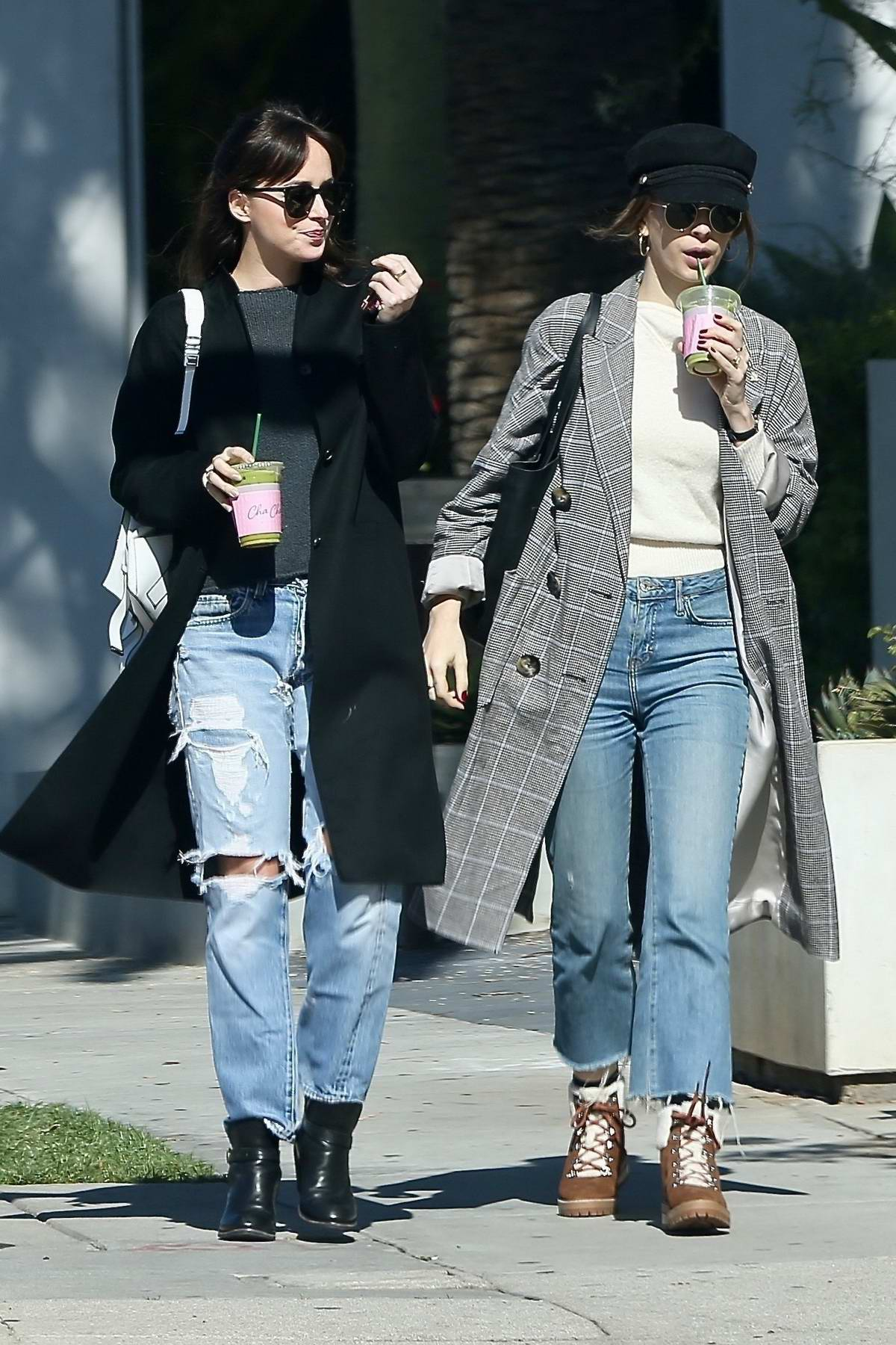 Dakota Johnson and Roisin Donnelly grab a juice together in West Hollywood, Los Angeles