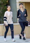 Danielle Campbell steps out for a walk with a friend after lunch in West Hollywood, Los Angeles
