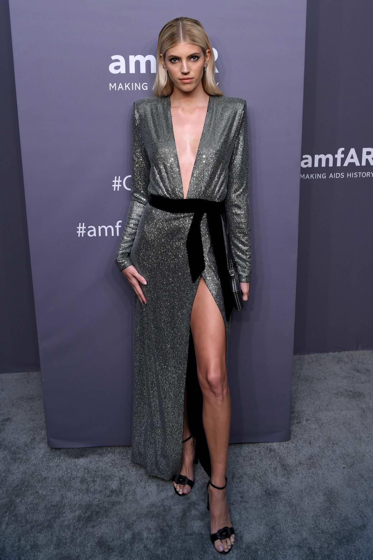 Devon Windsor attends amfAR New York Gala 2019 at Cipriani Wall Street in New York City