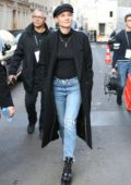 Diane Kruger wore a black long coat, black top and jeans as she steps out in Paris, France