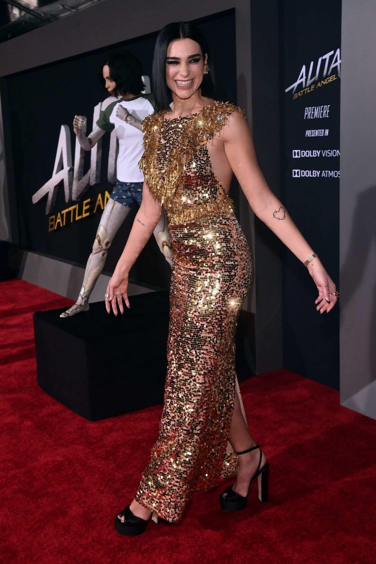 Dua Lipa attends the World Premiere of 'Alita: Battle Angel' at Westwood Regency Theater in Los Angeles