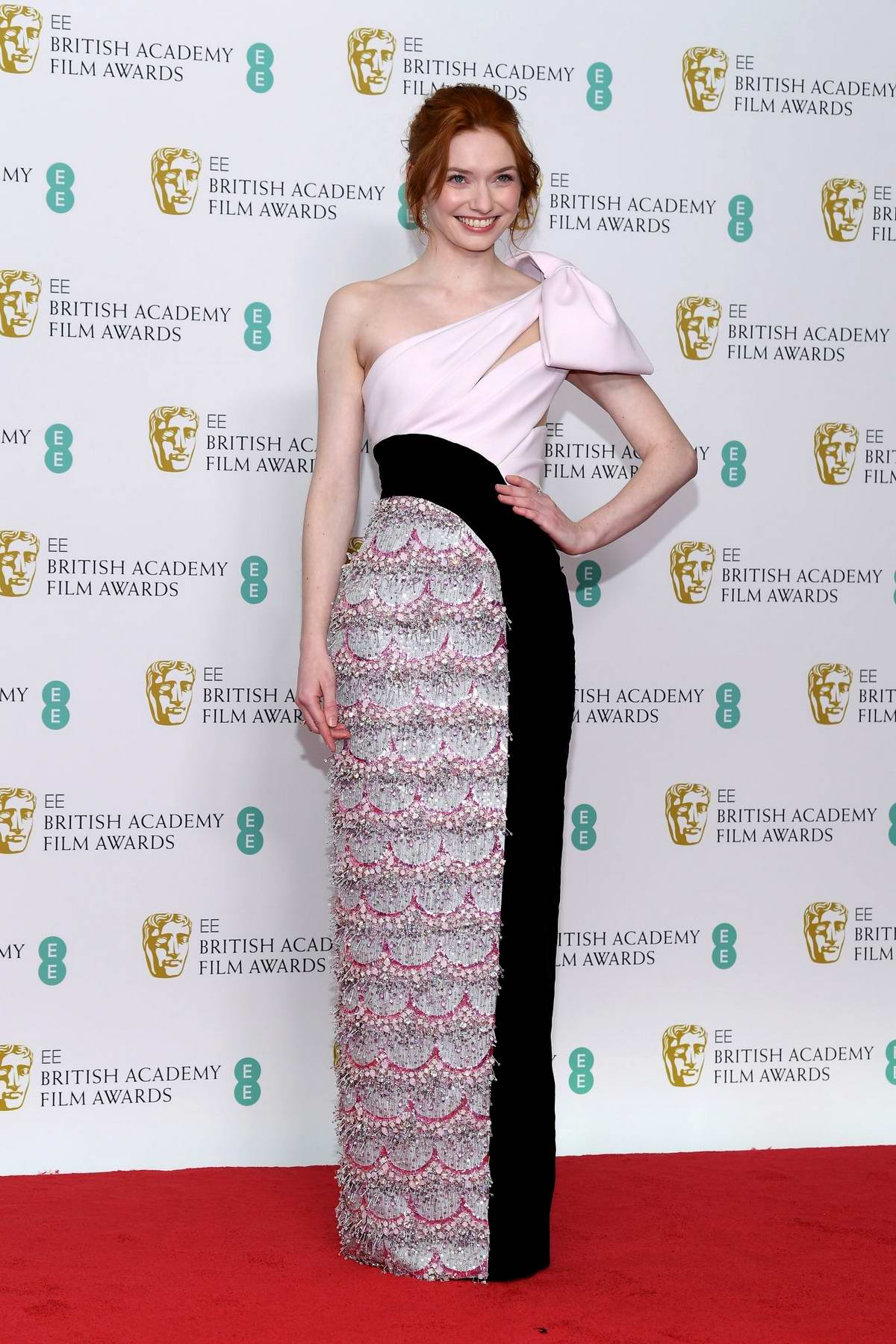 Eleanor Tomlinson attends the 72nd EE British Academy Film Awards (BAFTA 2019) at Royal Albert Hall in London, UK