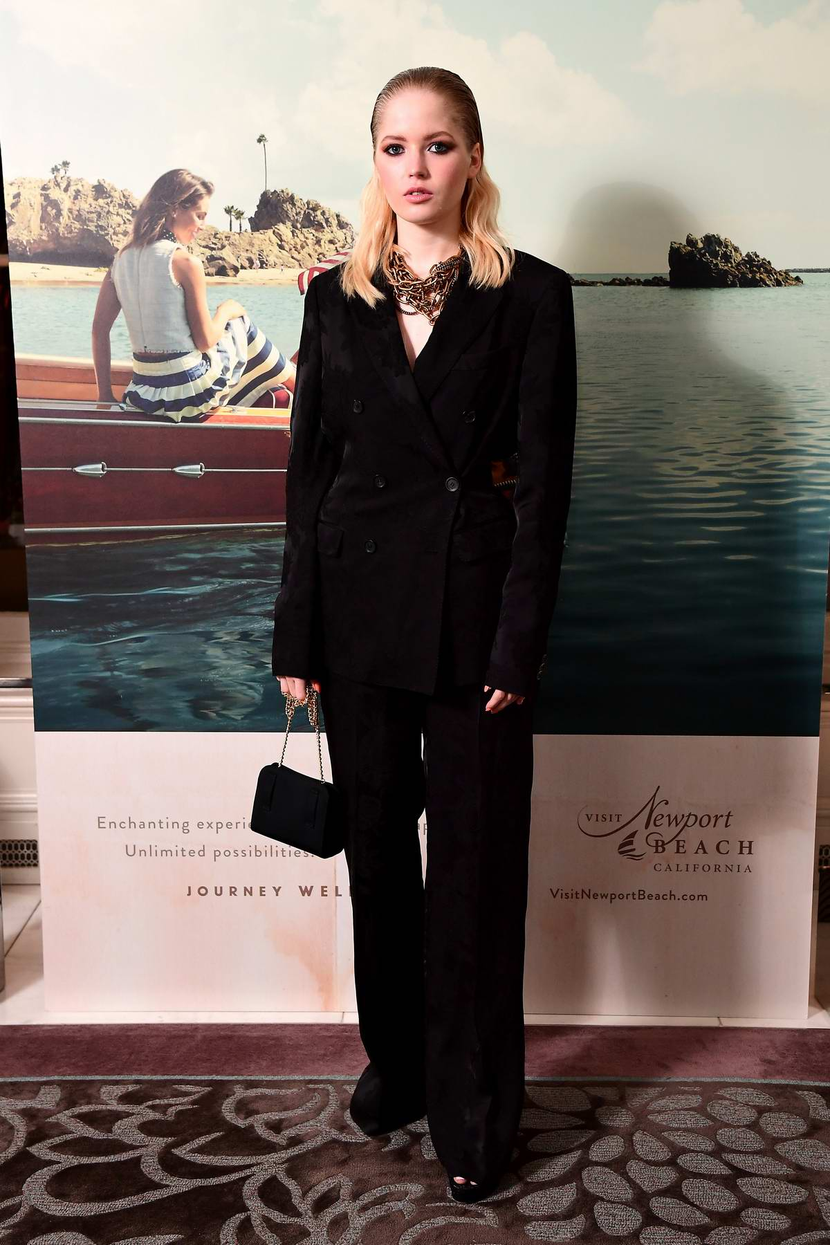 Ellie Bamber attends the Newport Beach Film Festival UK Honours event at The Langham Hotel in London, UK