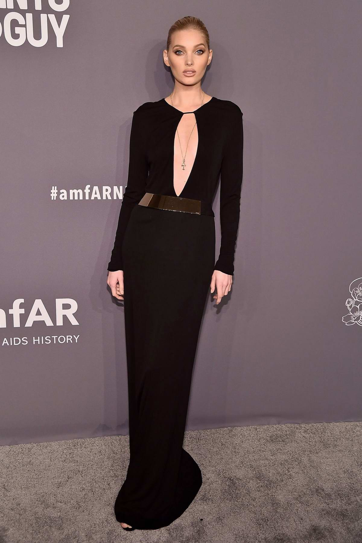 Elsa Hosk attends amfAR New York Gala 2019 at Cipriani Wall Street in New York City