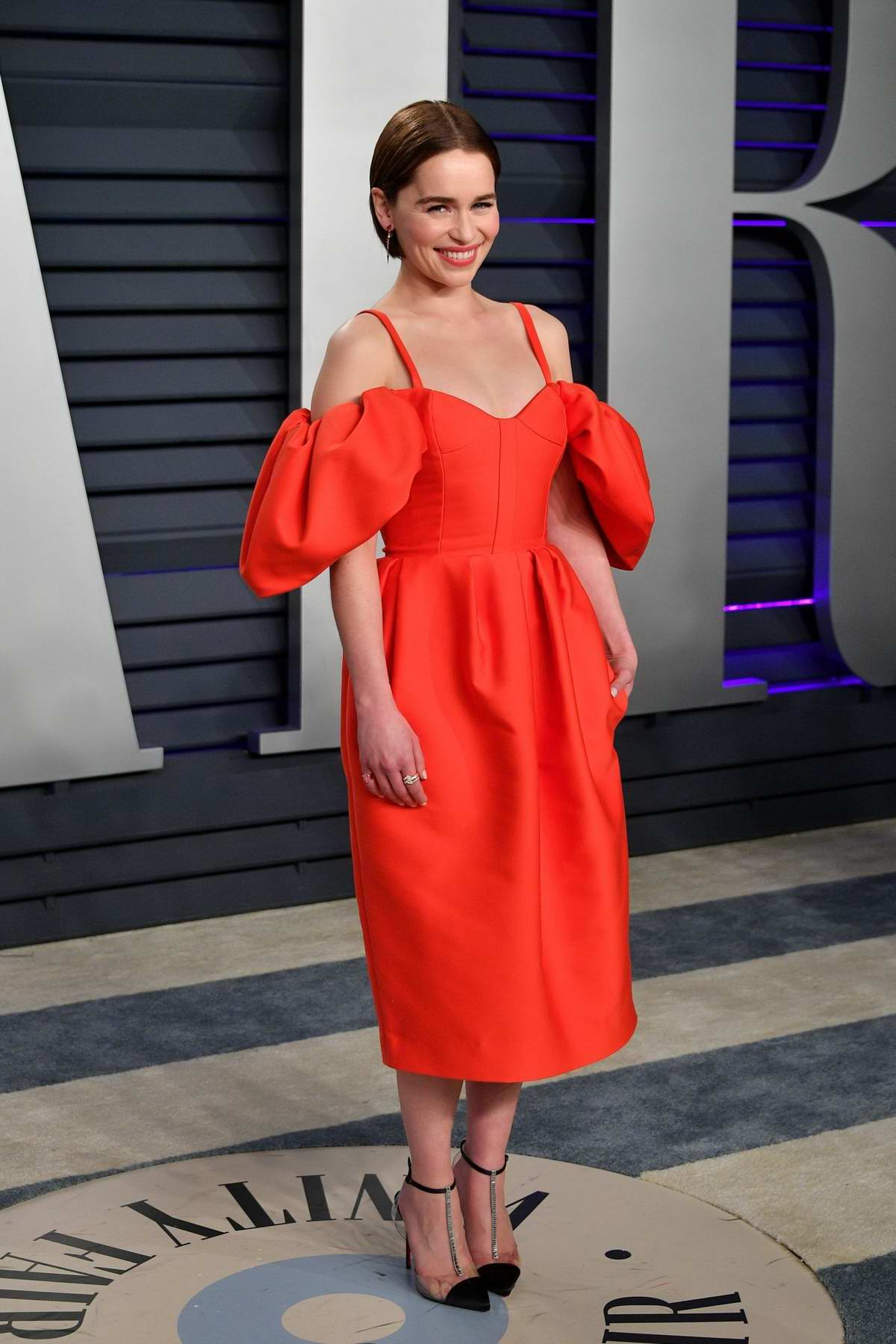 Emilia Clarke attends the Vanity Fair Oscar Party at Wallis Annenberg Center for the Performing Arts in Beverly Hills, California