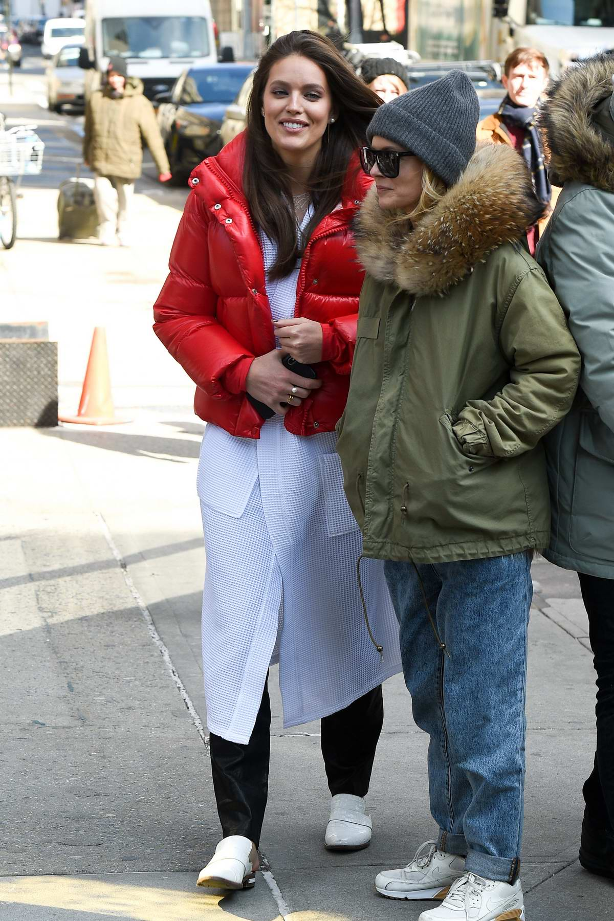 Emily DiDonato is all smiles as she takes a break while on the set of a Maybelline photoshoot in New York City