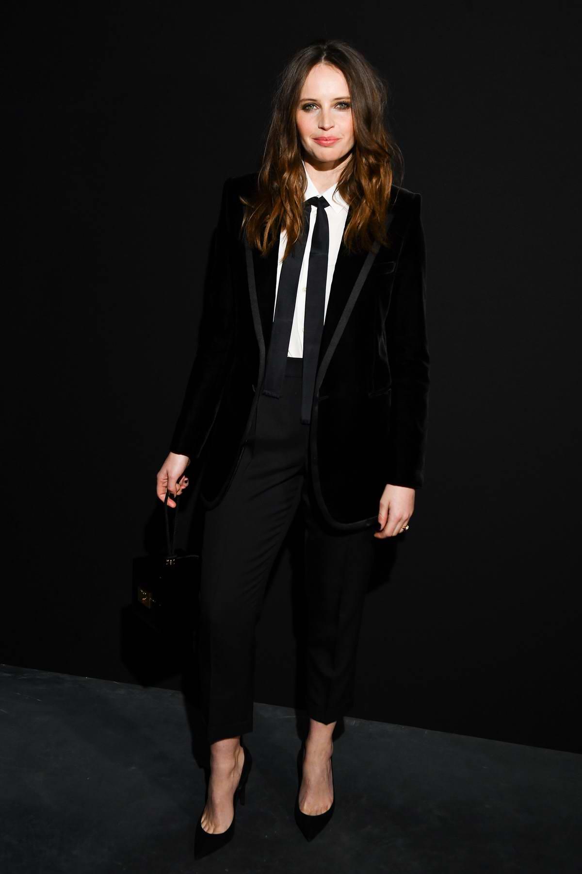 Felicity Jones attends the Saint Laurent show during Paris Fashion Week Womenswear Fall/Winter 2019/2020 in Paris, France