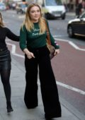 Florence Pugh spotted in a green top and black trousers while out and about in London, UK