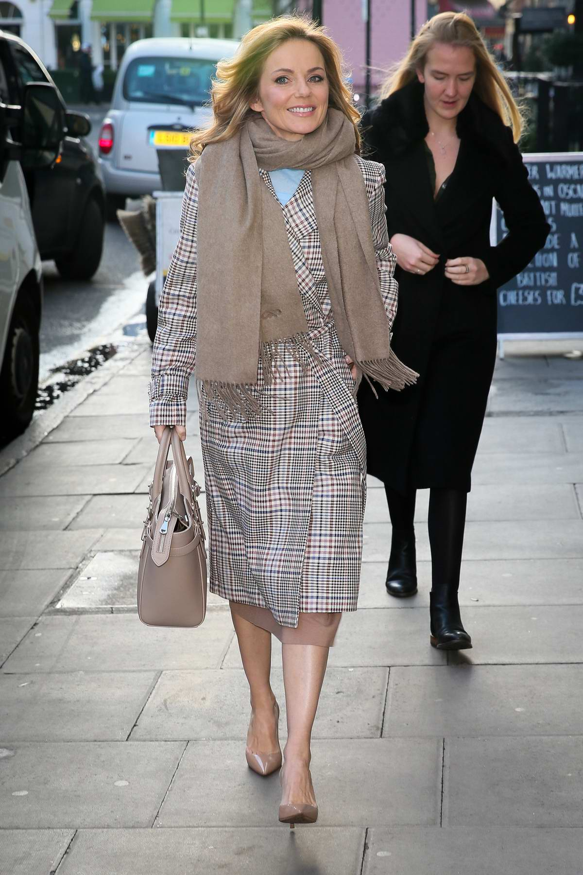 Geri Halliwell Horner arrives to promote BBC's 'All Together Now' at the Charlotte Street Hotel in London, UK