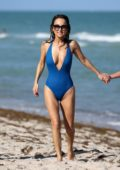 Giada De Laurentiis spotted in a blue swimsuit as she enjoys a day on the beach in Miami, Florida