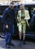 Gigi Hadid arrives to Fendi fashion show during Milan Fashion Week in Milan, Italy