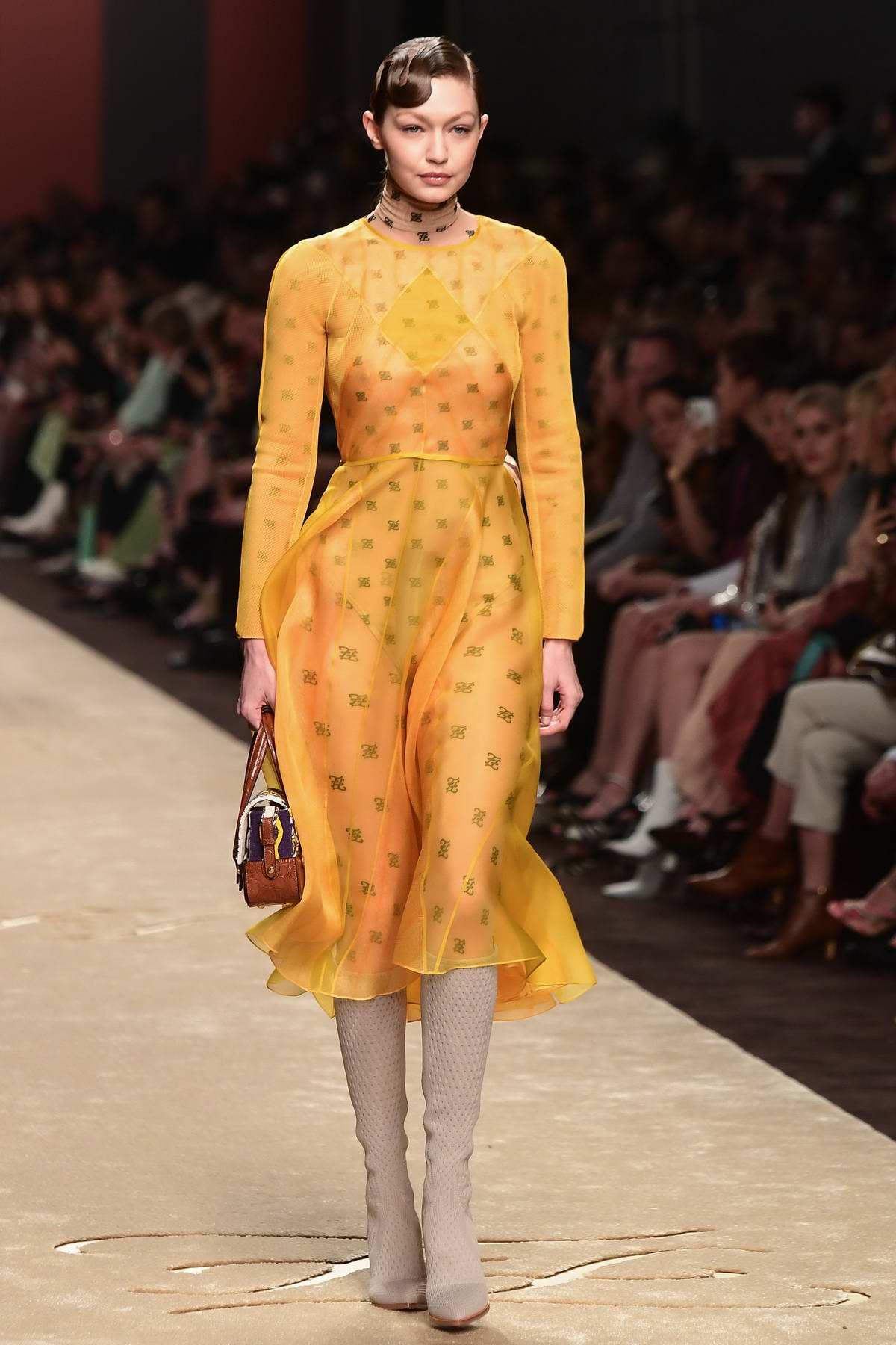 cadb94f390b Gigi Hadid walks the runway at Fendi Women s Fall Winter 2019 2020 Fashion  Show during Milan Fashion Week in Milan