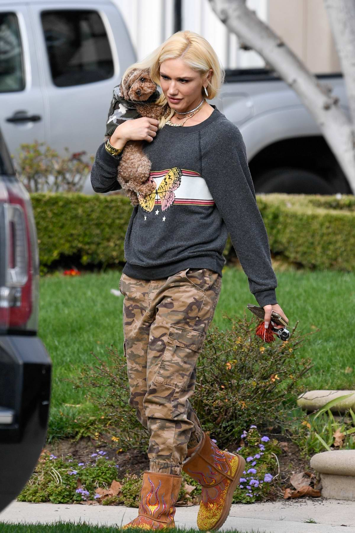Gwen Stefani cradles her dog while out in Los Angeles