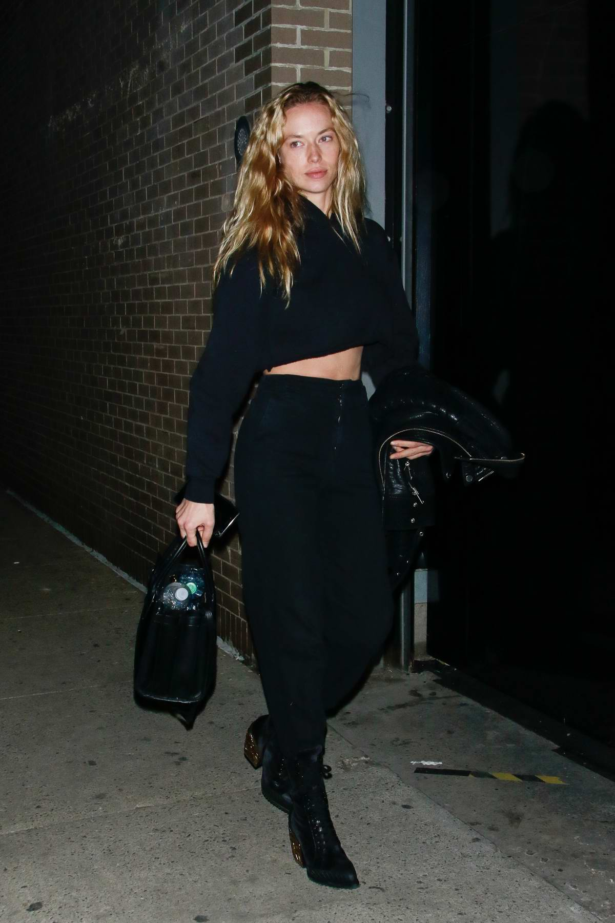 Hannah Ferguson steps out in all black during New York Fashion Week in New York City