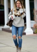 Hilary Duff dresses warm for an early morning coffee run in Sherman Oaks, California