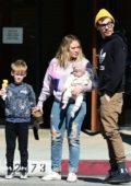 Hilary Duff enjoys a day out with her family at Alfred's in Los Angeles