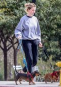 Ireland Baldwin steps out with her dogs for a stroll through the park in Santa Monica, California
