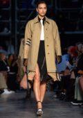 Irina Shayk walks the runway at Burberry 2019 A/W show during London Fashion Week in London, UK
