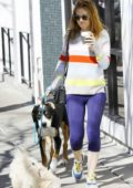 Isla Fisher keeps it casual in a sweater and leggings as she takes her dogs out for a walk in Los Angeles
