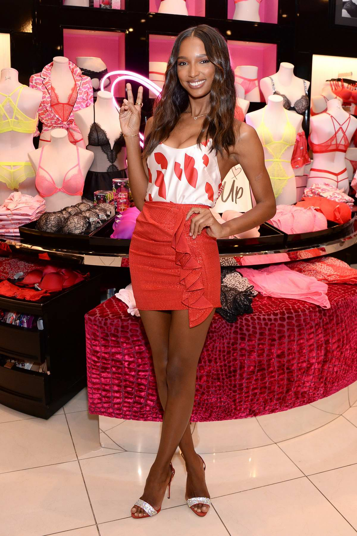 Jasmine Tookes at Victoria's Secret celebrates self-love this Valentine's Day at the Beverly Center in Los Angeles