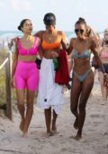 Jasmine Tookes, Shanina Shaik and Lais Ribeiro have a bikini beach party to celebrate Jasmine's birthday in Miami, Florida