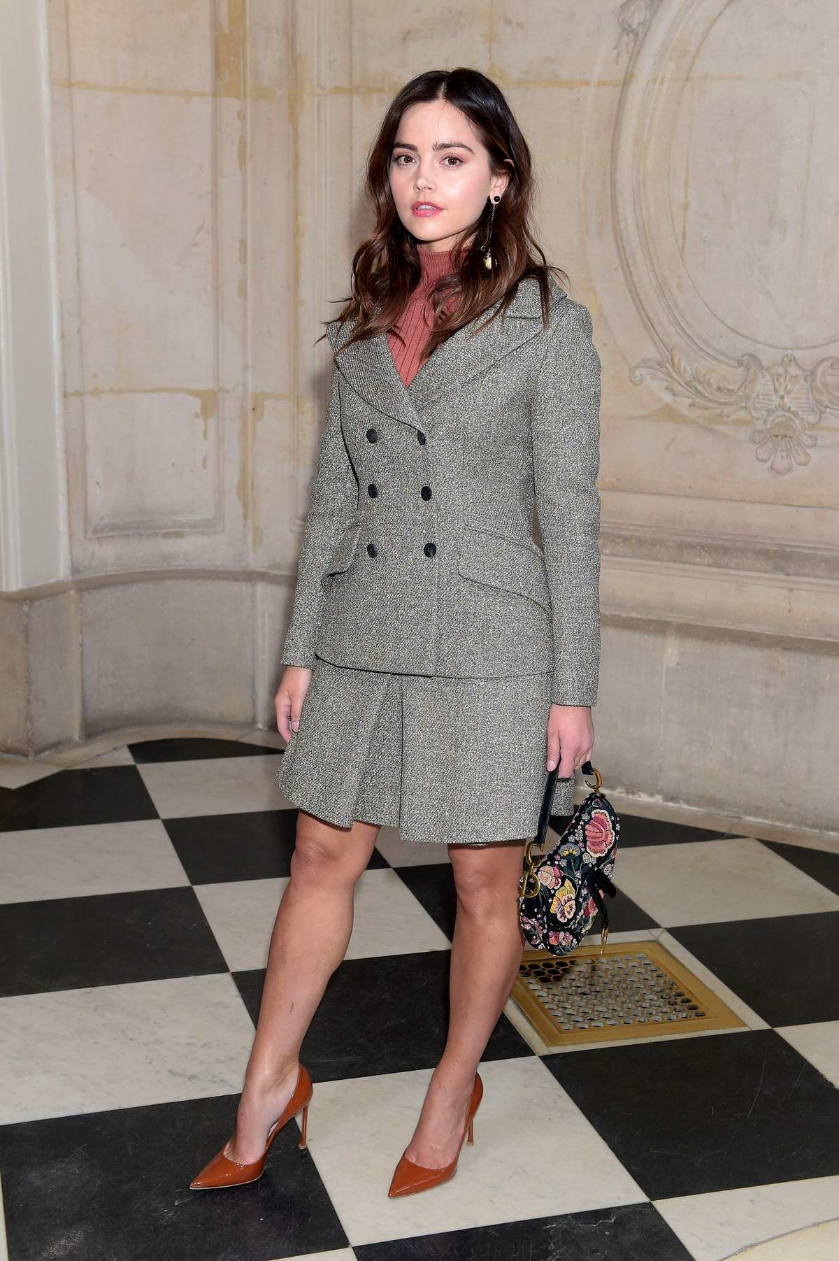 Jenna Coleman attends the Christian Dior show during Paris Fashion Week Womenswear Fall/Winter 2019/2020 in Paris, France