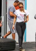 Jennifer Lopez and Alex Rodriguez leaves the gym in a Rolls Royce in Miami, Florida