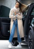 Jessica Alba steps out for shopping in a beige trench coat in Los Angeles