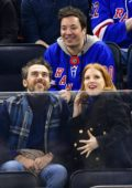 Jessica Chastain attends Philadelphia Flyers vs NY Rangers game with husband Gian Luca Passi and Jimmy Fallon at MSG in New York City