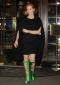 Jessica Chastain looks stylish in a pair of Gucci Candy Embroidered Dragon Satin Knee Boots as she leaves a hotel in New York City