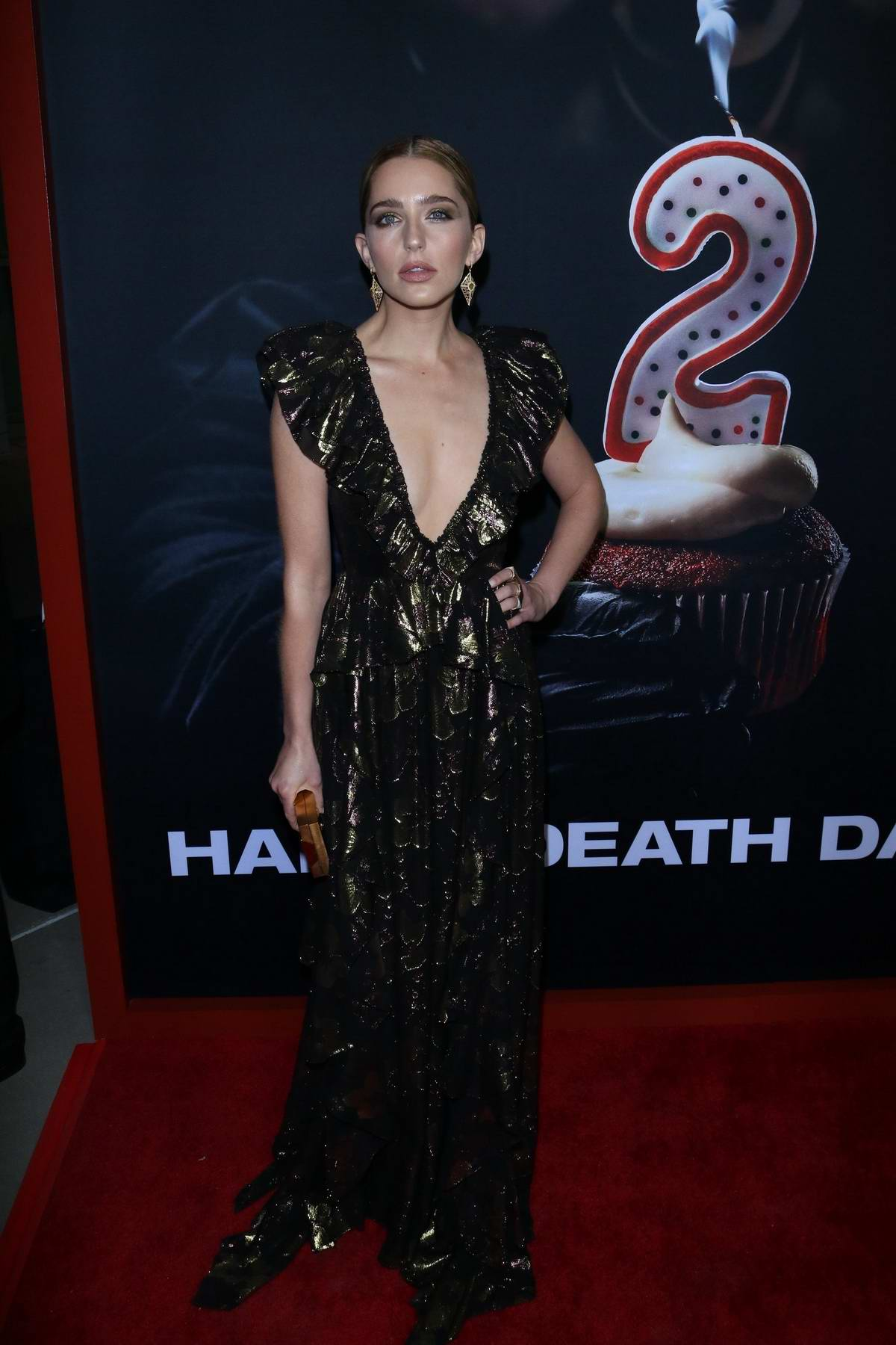 Jessica Rothe attends 'Happy Death Day 2U' premiere at the ArcLight Theatre in Hollywood, California