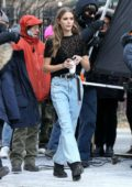 Josephine Skriver braves the cold while shooting a commercial for Maybelline in New York City