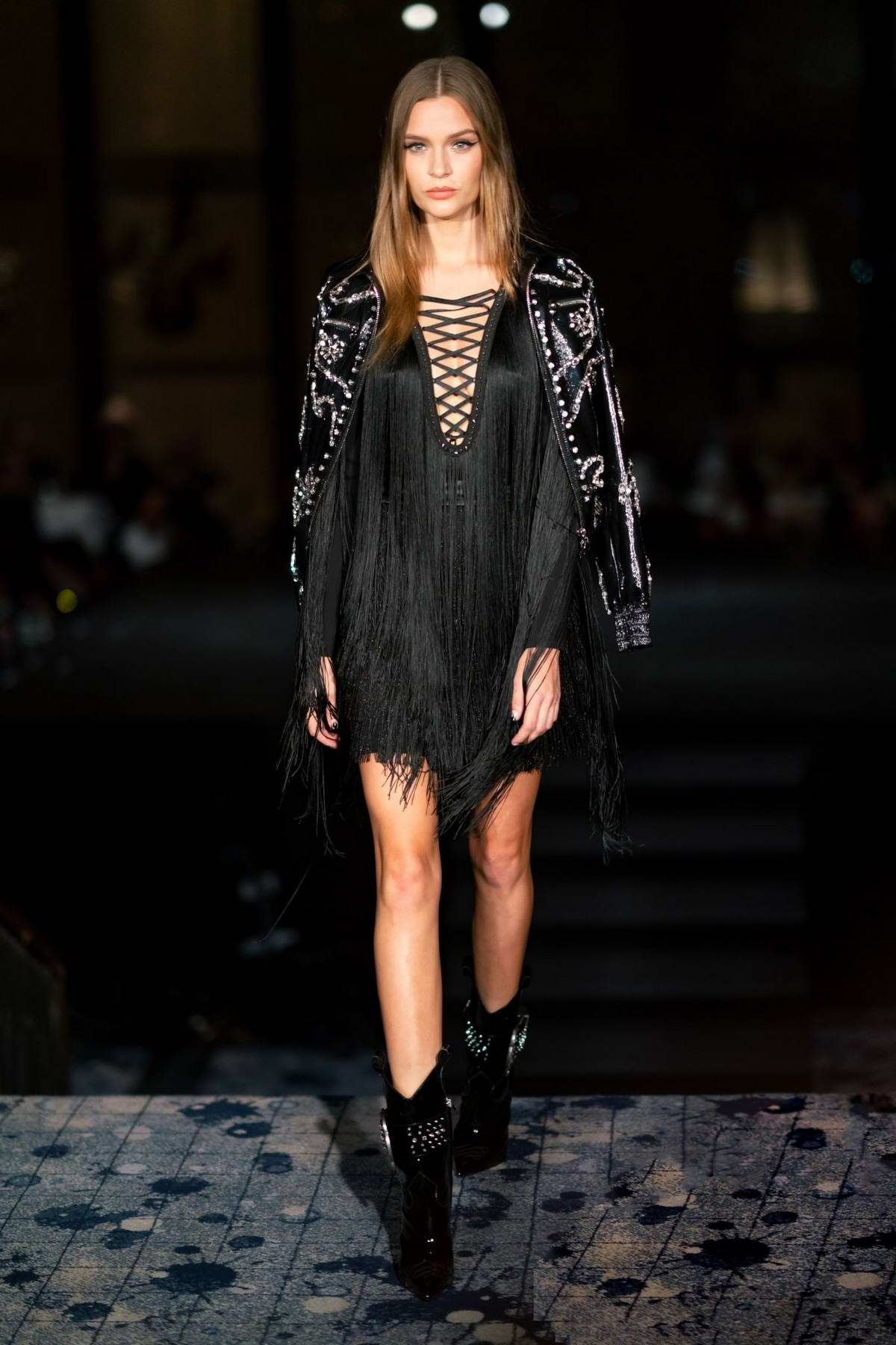 Josephine Skriver walks the runway at the Philipp Plein show during New York Fashion Week in New York City