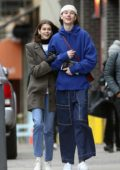Kaia Gerber and Wellington Grant hold hands as they stepped out for a stroll in SoHo, New York City