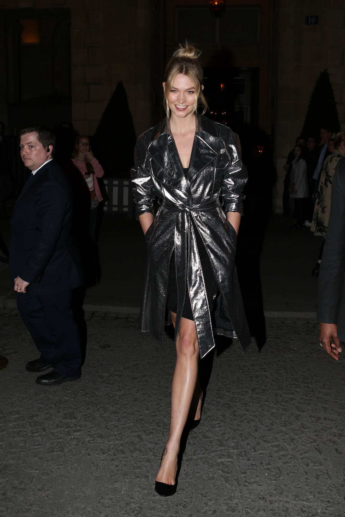 Karlie Kloss seen leaving her hotel while heading to an event during the Paris Fashion Week 2019 in Paris, France