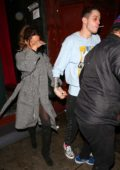 Kate Beckinsale and Pete Davidson hold hands as they leave after Pete's Stand Up Show at Largo at the Coronet in West Hollywood, Los Angeles